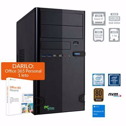 Fotografija izdelka PCPLUS e-office i7-9700 8GB 256GB NVMe SSD 1TB HDD Windows 10 Home + darilo: 1 leto Office 365 Personal